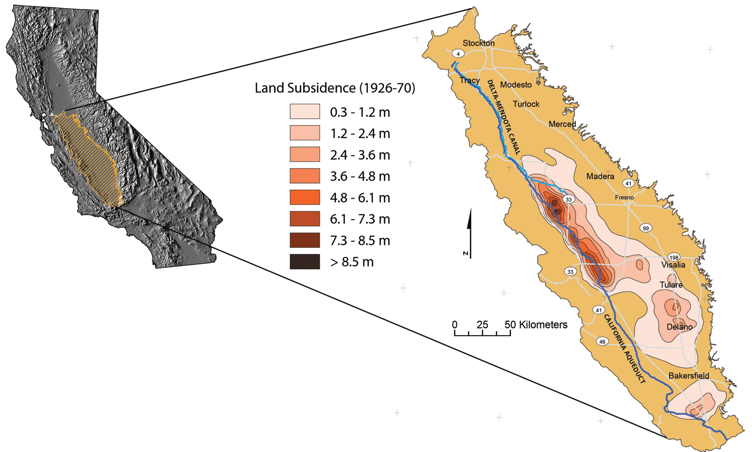 USGS Subsidence in CA Central Valley